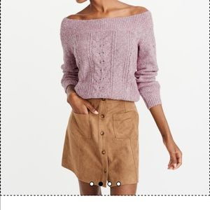 A&F Off-The-Shoulder Cable Knit Sweater